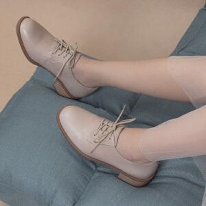 青婉田原宿软妹chic中跟方头单鞋真皮英伦风ins小皮鞋女复古女鞋