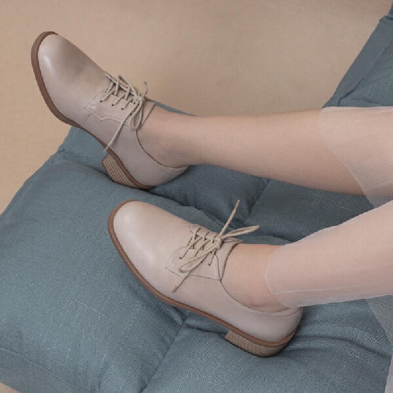 青婉田原宿软妹chic中跟方头单鞋真皮英伦风ins小皮鞋女复古女鞋尺码正常,脚感舒适,头层牛皮