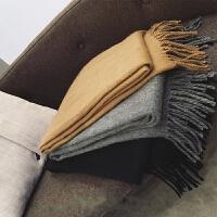韩版纯色流苏学生百搭针织围巾加厚男女冬季保暖长款披肩两用围脖