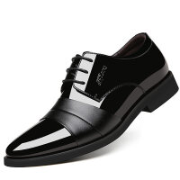 尚恩麦品牌男士皮鞋男黑色秋季韩版英伦尖头青年休闲商务正装内增高男鞋子潮
