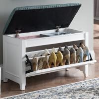 白色进门换鞋柜美式实木换鞋凳多功能储物凳欧式可坐穿鞋凳收纳凳