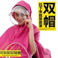 电动摩托车雨衣成人双帽檐雨披男女单人头盔双面罩加大雨衣js5