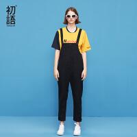 初语 2018夏季新款 文艺休闲修身黑色牛仔背带裤女九分裤连体裤