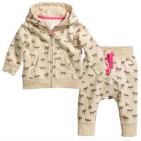新款童装春秋加绒斑马图案外套开衫卫衣+大PP裤哈伦裤子套装