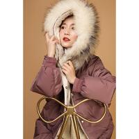 韩版外套冬季保暖上衣高级中长款潮暖暖大毛领时尚仿羽绒服M897新款新品冬季2018女装女士
