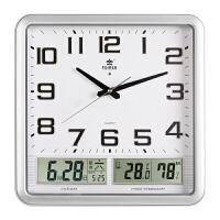 钟表时钟静音夜光温度湿度日历长方形卧室电子石英钟客厅挂钟 14英寸