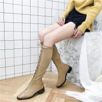 卡其色靴子女中长款高筒靴女秋冬系带马丁靴双料拼接及膝长靴子户外女靴卡其色 TBP 卡其色 《加绒内里》