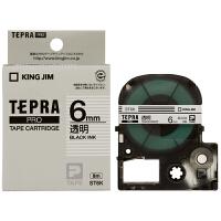 KING JIM 锦宫贴普乐ST6K色带 6mm透明底黑字 标签带 标签机色带 打印标签纸 6mm×8m