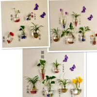 创意家居墙壁装饰品墙上花盆 壁挂透明水培玻璃花瓶 悬挂鱼缸 全家福17件+无痕钉 彩石+蝴蝶