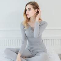 A200 秋冬新款性感V领修身美体内衣套装女士单层针织保暖无缝内衣