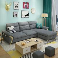 【限时7折】北欧布艺沙发小户型客厅家具经济型三人位组合简易转角乳胶布沙发