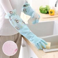 早。厨房洗碗防水耐用保暖加绒加厚胶皮手套家用洗衣清洁做家务胶