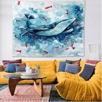 鲸鱼ins风北欧墙壁装饰品墙上挂件宿舍家居饰挂毯挂布背景布 蓝鲸鱼 横版 148*200
