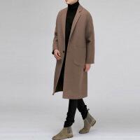 201811150458364692018冬季新款韩版青年双面无羊绒大衣男中长款落肩咖色毛呢子外套
