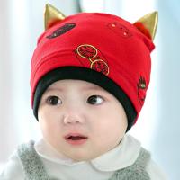 婴儿帽子春秋季0-3个6月新生儿初生宝宝胎帽秋冬婴幼儿套头帽 红色 单帽 均码