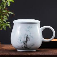 景德镇茶杯陶瓷带盖过滤泡茶杯办公室男女个人水杯子影青礼品瓷器SN8254 苹果杯(竹)