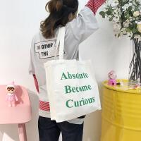 韩国复古文艺字母小清新购物袋手提森系单肩女包 学生帆布包