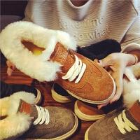 欧洲站冬季新款羊毛雪地靴女布洛克保暖短筒棉靴学生平底舒适女鞋