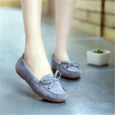 妈妈鞋 新款欧美蝴蝶结流苏牛筋软底平底低帮单鞋圆头孕妇女鞋 纯色 开车鞋