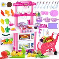 贝思迪儿童厨房玩具3-6周岁女孩过家家仿真厨具真煮女童公主玩具 粉 双面 灯光音效出水【带切水果 购物车】