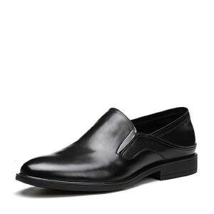 Tata/他她2018夏专柜同款牛皮商务压花套脚方跟男皮鞋S2530BM8
