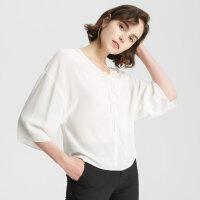【1件2折到手价:149.8】真丝MECITY女装V领珍珠缎系带长袖衬衫