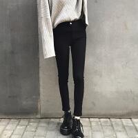 秋冬新款打底裤女外穿加绒加厚韩版长裤高腰修身显瘦小脚铅笔裤子