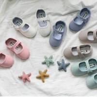童鞋女童帆布鞋春季魔术贴男童宝宝汉服软底布鞋复古蝴蝶结豆豆鞋