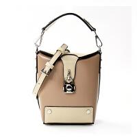 包拼色锁头盒子包包女新款百搭时尚手提单肩斜挎小包潮