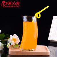 白领公社 玻璃杯 月牙男女学生创意透明喝水杯子斜度个性新款果汁杯透明冷饮啤酒杯水杯水具