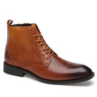 冬季男士英伦马丁靴高帮皮鞋男尖头牛皮男靴子真皮短靴皮靴潮