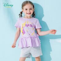 迪士尼Disney童装 甜美萝莉肩开短袖套装夏季新品荷叶边拼接T恤短裤192T899