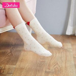 【3件3折到手价:11】笛莎女童袜秋季新款波点立体耳朵短袜小女孩短袜三双组合