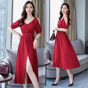 新款2018红色连衣裙子雪纺夏装大度假沙滩裙短袖
