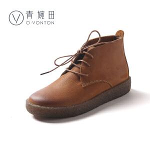 青婉田2018新款短靴女复古真皮马丁靴女英伦风女靴春单靴子平底