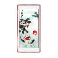 国画山水画玄关九鱼图装饰画竖版风水靠山字画卷轴挂画客厅