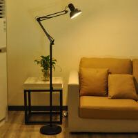 长臂落地灯客厅卧室书房现代简约工作阅读LED遥控落地台灯 黑色送7瓦LED 暖光护眼灯