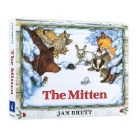 小手套 英文原版绘本 The Mitten 汪培�E书单 儿童低幼认知启蒙纸板书 Jan Brett 名家绘本 学前教育