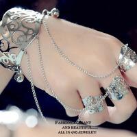 萌味 手链 女时尚开口手镯戒指一体款潮个性手环女式手饰女士手链装饰品学生创意礼品生日礼物新娘结婚饰品