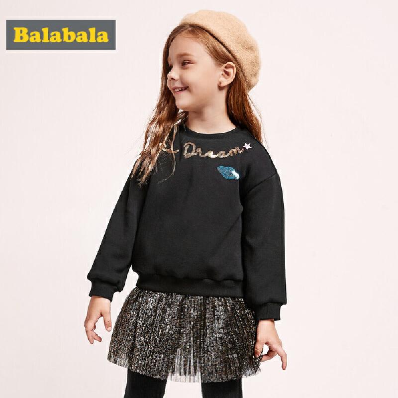 巴拉巴拉女童连衣裙秋冬新款宝宝洋气裙子儿童拼接公主裙加绒