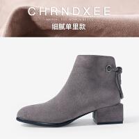 2018秋冬新款粗跟短靴女中跟短筒靴子方跟及裸靴踝靴侧拉链马丁靴