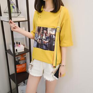 短袖T恤女夏季新款韩国宽松学生破洞半袖体恤上衣