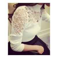 秋冬女装性感钩花打底衫修身高领蕾丝拼接上衣针织小衫长袖T恤女