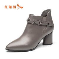 红蜻蜓女棉鞋2019秋季新款马丁靴英伦休闲鞋短靴真皮 断码清仓