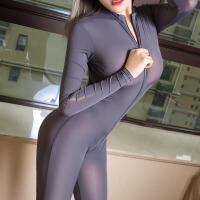情趣内衣女骚套装性感诱惑双头拉链弹力冰丝泳布长袖性感连体衣新款7872
