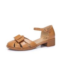 骆驼女鞋 2018春季新款 真皮方跟鞋子简约舒适凉爽圆头中跟女凉鞋