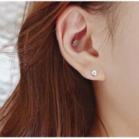 欧丁950银耳钉 韩国小耳钉磨砂圆球耳骨钉耳饰品H054