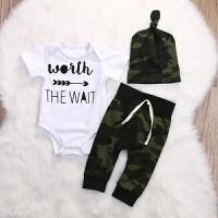 INS男宝宝春秋迷彩套装0-2岁婴儿三件套新生儿爬服套装外出衣服潮