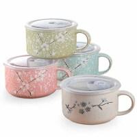 雅泰日式手绘陶瓷带盖泡面杯微波炉饭盒带把手大容量便当盒【800ml】