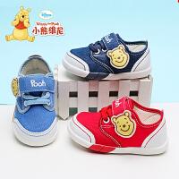 小熊维尼童鞋男宝宝鞋学步鞋女1-3岁防滑软底6-12个月婴儿帆布鞋